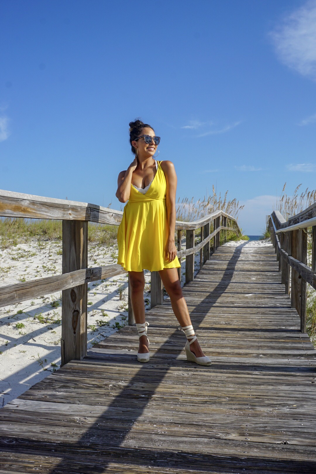 Yellow Dress + Lace-Up Espadrilles